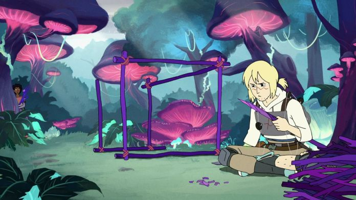 A blonde teenager sits in a colorful fantasy landscape, surrounded by glowing giant purple and pink mushrooms in HBO Max's Infinity Train.