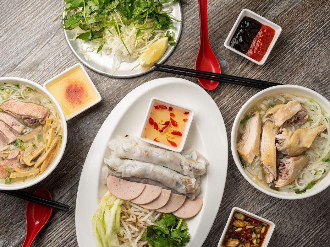 Dishes at Pho Ga District.