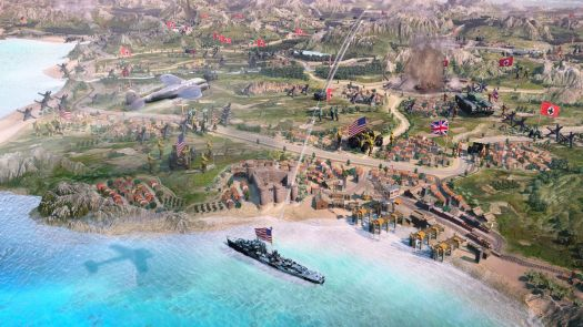 An overworld map showing a Nazi bomber attacking the coastline of Italy in Company of Heroes 3.