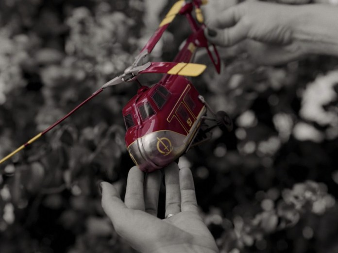 Wanda picks up a helicopter with the SWORD symbol on it in WandaVision