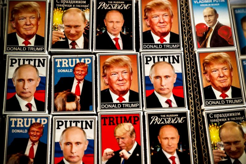 Magnets depicting Russian President Putin and President Trump on sale in Helsnki, Finland.