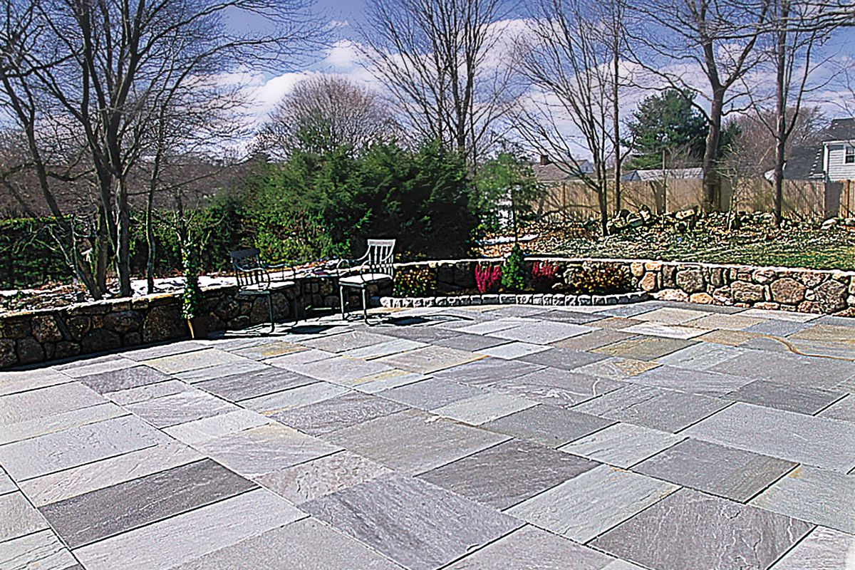 how to lay a stone patio this old house