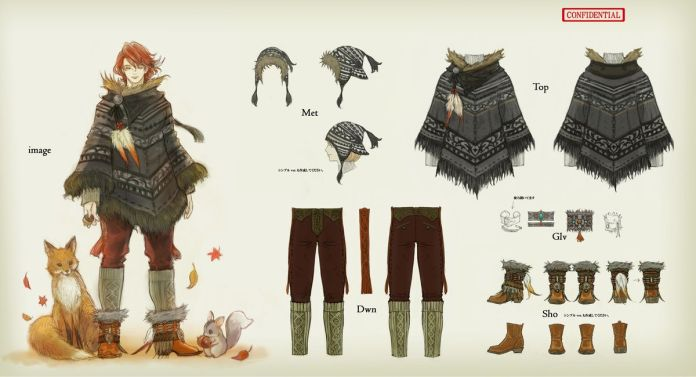 Concept art for Final Fantasy 14's Cashmere Poncho, including a fox and nutkin standing next to the model