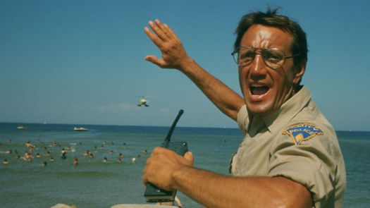 Police chief Roy Scheider yells a warning as he watches his island's crowded beaches for any sign of a shark attack in Jaws.