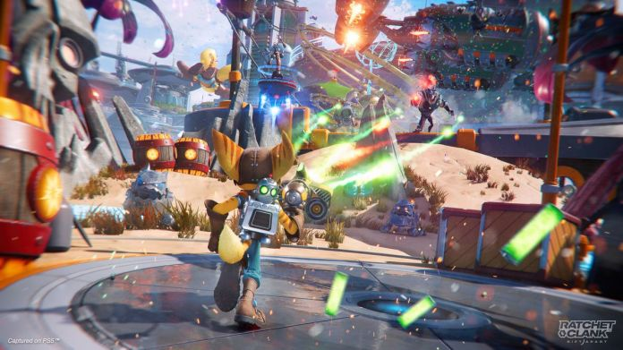 Ratchet fires his Burst Pistol at enemies in a screenshot from Ratchet & Clank: Rift Apart