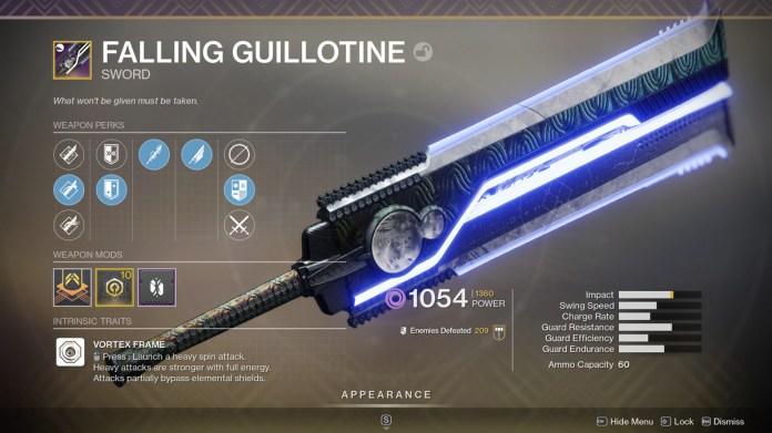 Destiny 2 Falling Guillotine sword