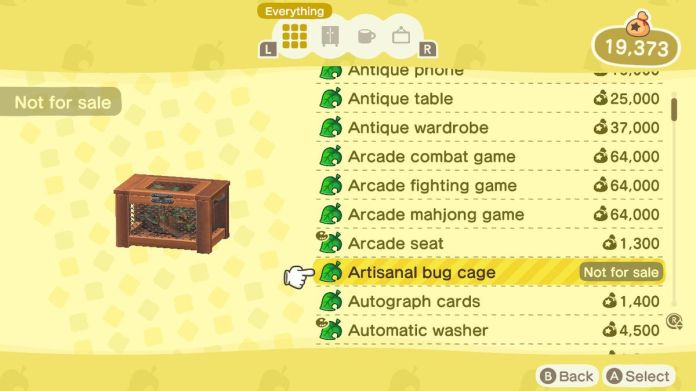 An Animal Crossing: New Horizons shop menu for an Artisanal Bug Cage