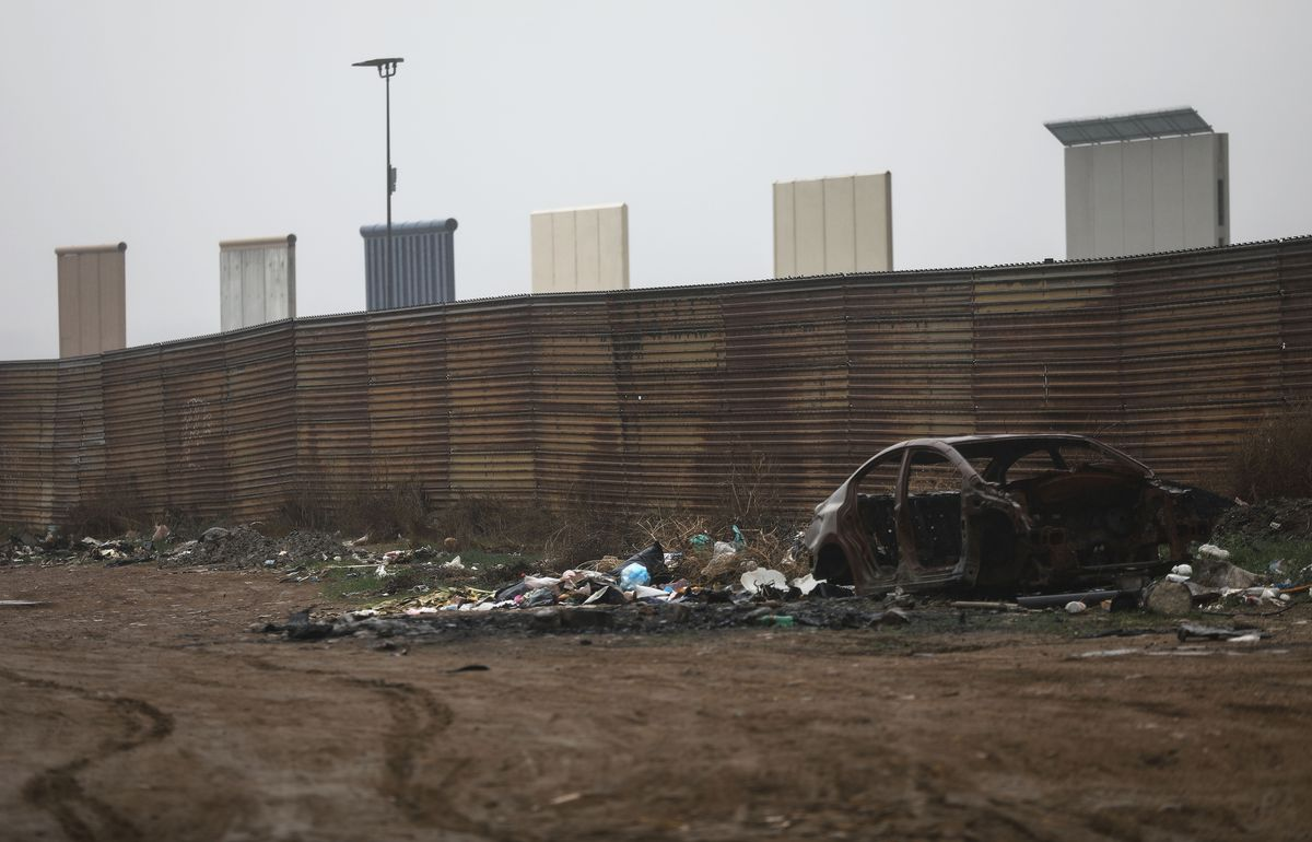 President Trump's Proposed Border Wall Prototypes Sit Along Mexico / U.S. Border