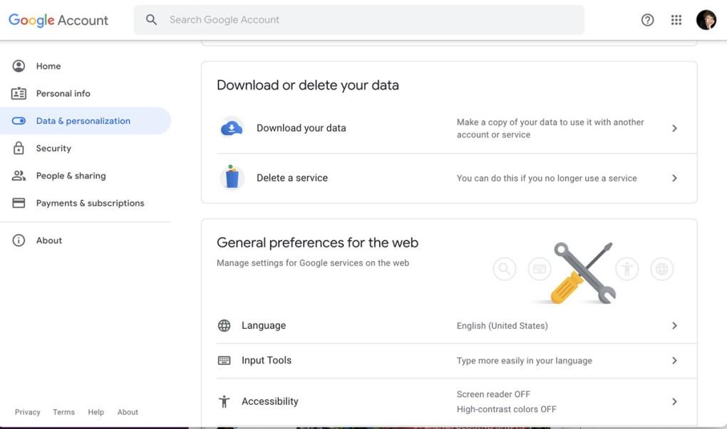 """Chọn """"Tải xuống dữ liệu của bạn""""."""