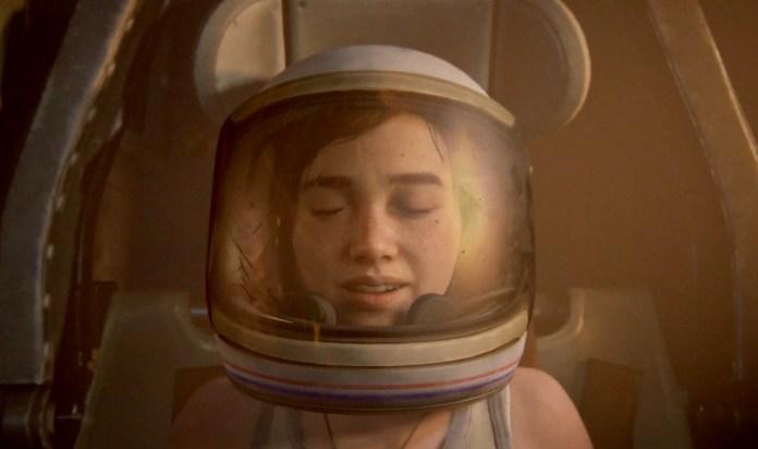 Ellie in a space helmet