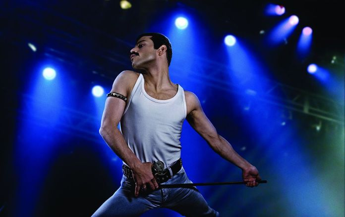 Rami Malek plays Freddie Mercury in Bohemian Rhapsody.