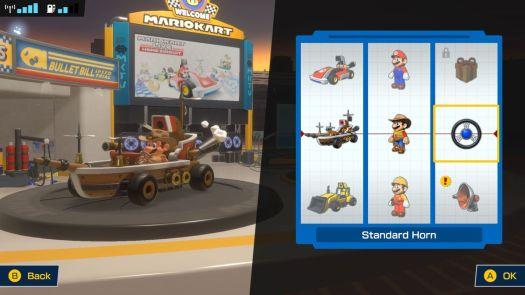A customization menu from Mario Kart Live: Home Circuit