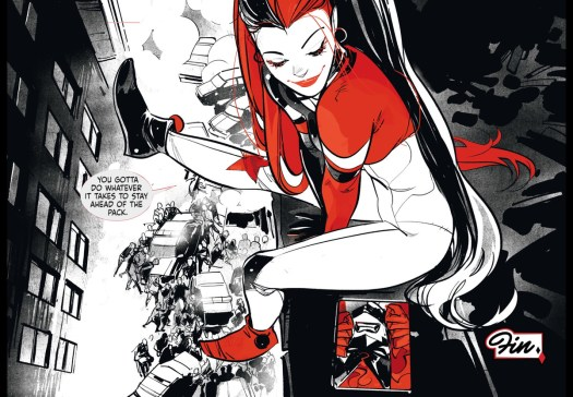 Harley Quinn, in a full coverage skintight costume with pixie boots and thigh-length pigtails, sits on a rooftop and gloats her victory over Batwoman in Harley Quinn: Black + White + Red #11, DC Comics (2020).