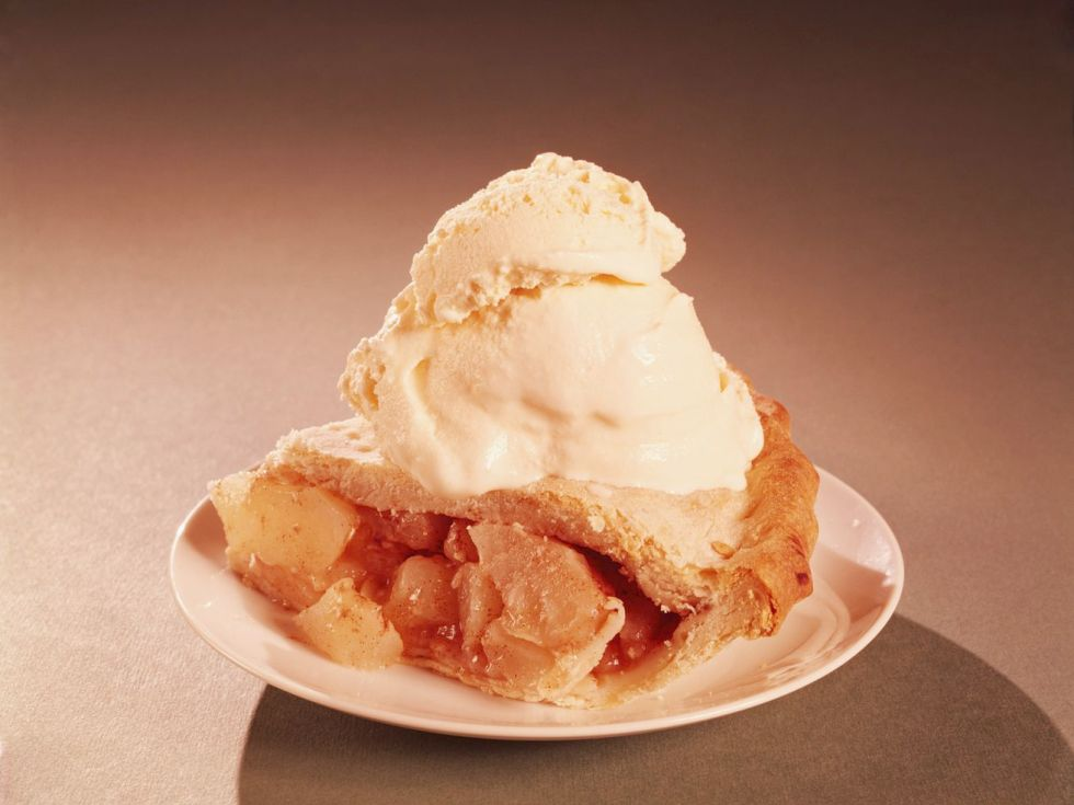 Retro-style image of a slice of apple pie with vanilla ice cream on top, on a plate.