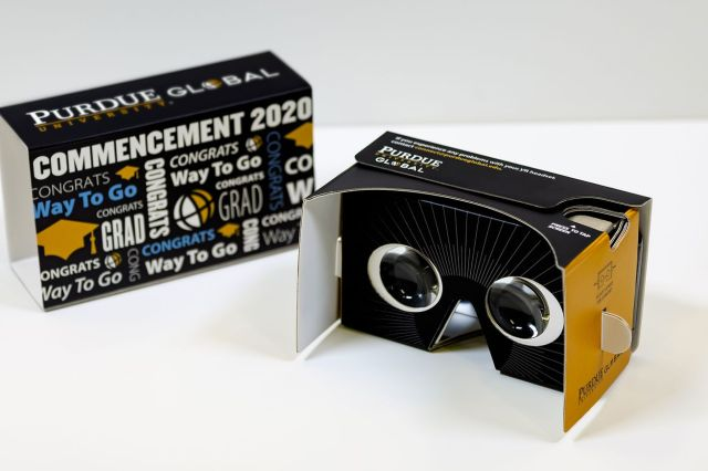 Purdue Global virtual reality commencement headset