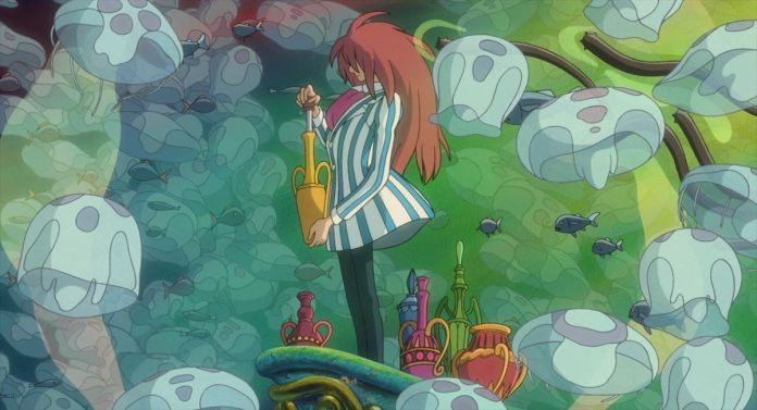 a wizard with long red hair bottles up some magic while underwater in ponyo