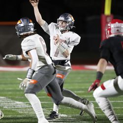 Skyridge's McCae Hillstead makes a pass during a varsity football game against American Fork at American Fork High School in American Fork on Wednesday, Oct. 13, 2021. Skyridge won 42-22.
