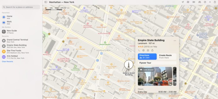 A screenshot of the Maps interface in macOS Big Sur.