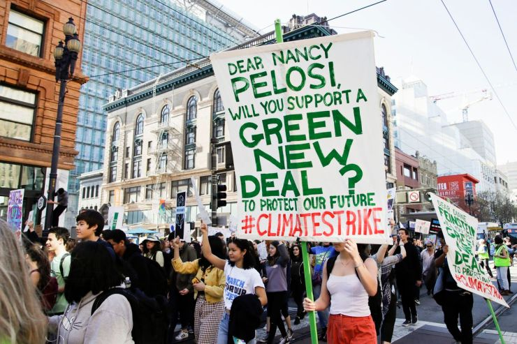 Students march along Market Street during a protest against climate change Friday, March 15, 2019, in San Francisco.