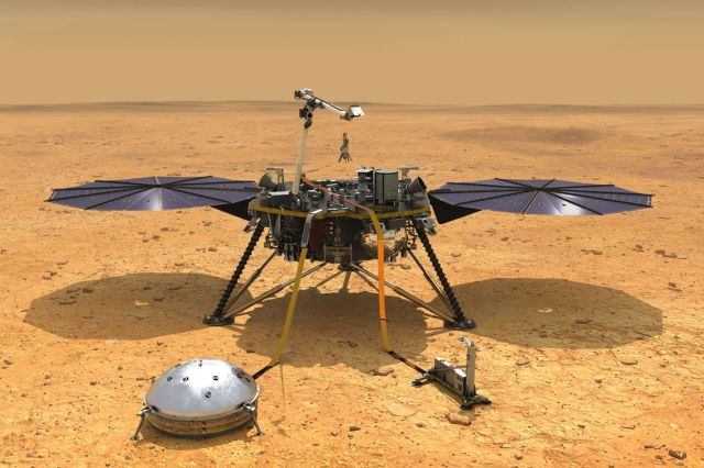 <em>An artistic rendering of NASA's InSight lander with both of its main instruments deployed.</em>