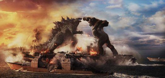 Godzilla and King Kong square off on an aircraft carrier in Godzilla vs. Kong