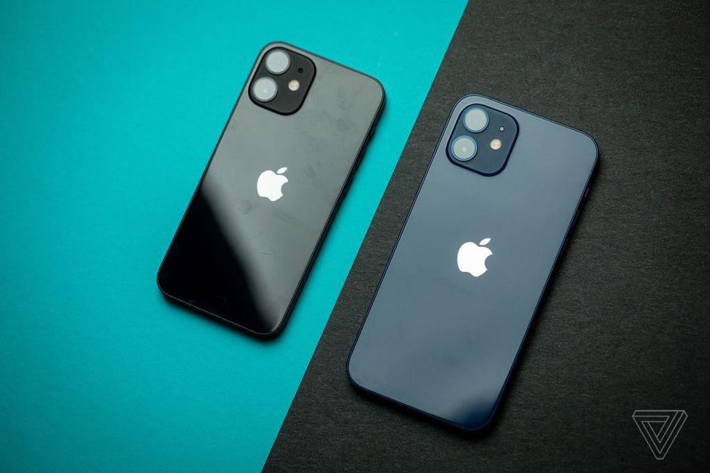 iPhone 12 mini (trái) và iPhone 12 (phải)