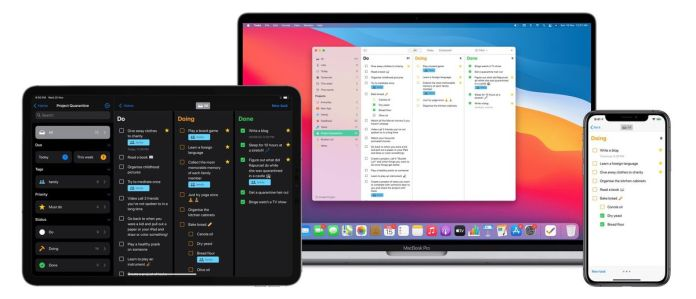"""The Tasks app on Mac and iPad shows a navigation bar and three columns of to-dos reading """"Do,"""" """"Doing,"""" and """"Done."""" The iPhone version only shows a single column at a time."""