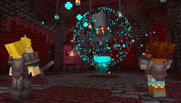 Minecraft: a player prepares for a battle in the Nether