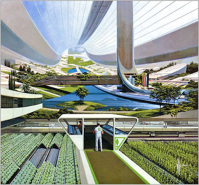 Artist Syd Mead's drawing of hydroponic agriculture in outer space depicts the inside of a massive curved space station that includes a lake, landscaped terraces, and in the foreground, a man in a scientific lab building among plants growing in rows like crops.
