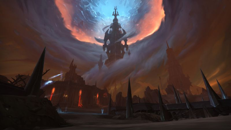 World of Warcraft: A shot from the Shadowlands, showing the shattered sky falling into Azeroth