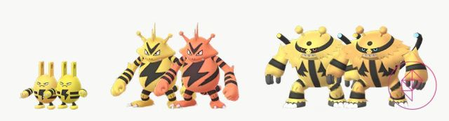 A comparison for Shiny Elekid, Electabuzz, and Electivire to their normal forms. Shiny Elekid is a lighter yellow, Shiny Electabuzz is orange, and Electivire is a darker yellow with blue accents.