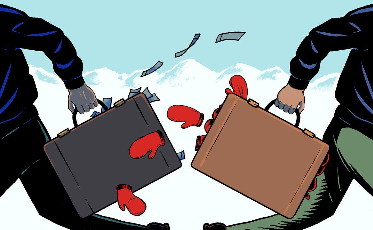 Illustration de deux hommes qui courent dans la direction opposée. L'un tenant une mallette d'argent, les autres une mallette de mitaines rouges.