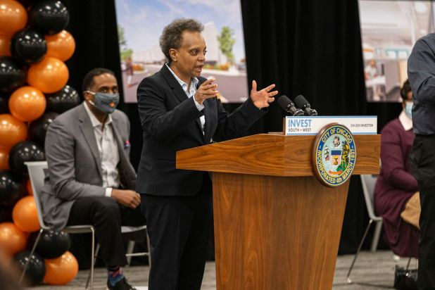 Mayor Lori Lightfoot speaks at an event in the Chatham neighborhood on the South Side earlier this month.