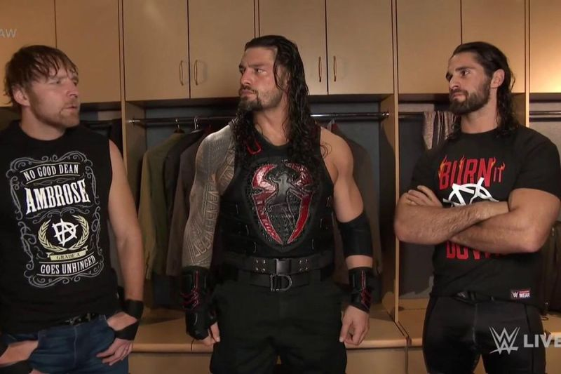 Image result for Ambrose, Reigns, Rollins meet in the locker room to close Raw, say no words