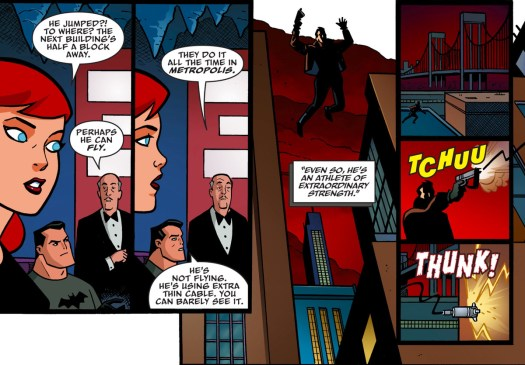 """Batman, Batgirl, and Alfred discuss the mysterious and skilled person who's been tailing them for days. """"Perhaps he can fly,"""" Alfred suggests dryly, """"They do it all the time in Metropolis,"""" in Batman: The Adventures Continue #5, DC Comics (2020)."""