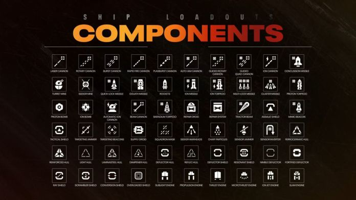 A list of components entering starships in Star Wars: Squadrons. Items include microbust engines, ion jet engines, muti-lock missiles and more.