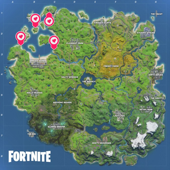 The location of Fortnite's Astro heads for the Travis Scott challenge