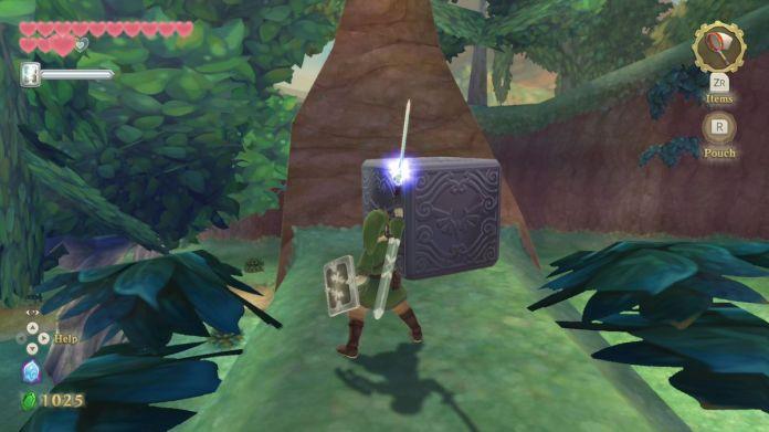 Link eksplorujący zalesiony obszar w Skyward Sword HD