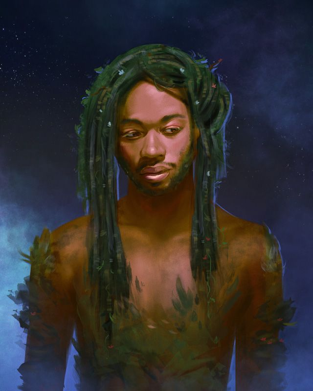 A Black man with dreadlocks and leaves growing from his chest and upper arms.