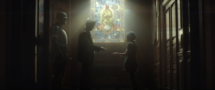 Flanked by a guard, Mobius M. Mobius passes something to a small child, in front of a stained glass window of a devil-like figure in Loki.