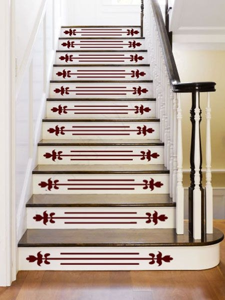 Dress Up Stair Risers With Vinyl Decals This Old House   Vinyl And Carpet Stairs   Thin   Indoor   Light   Low Pile   Laminate