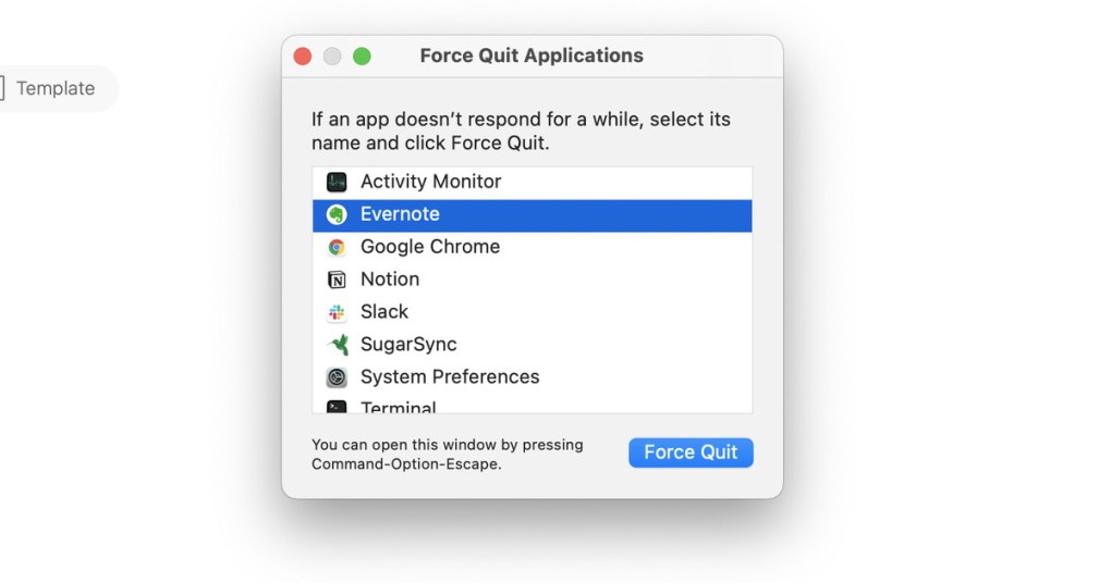 """Use the """"Force Quite Applications"""" menu to shut down an erring app."""