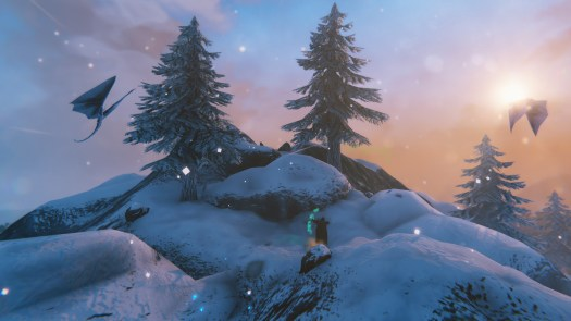 Valheim - a viking stands on a snowy mountain, using their bow to attack a bird in the distance.