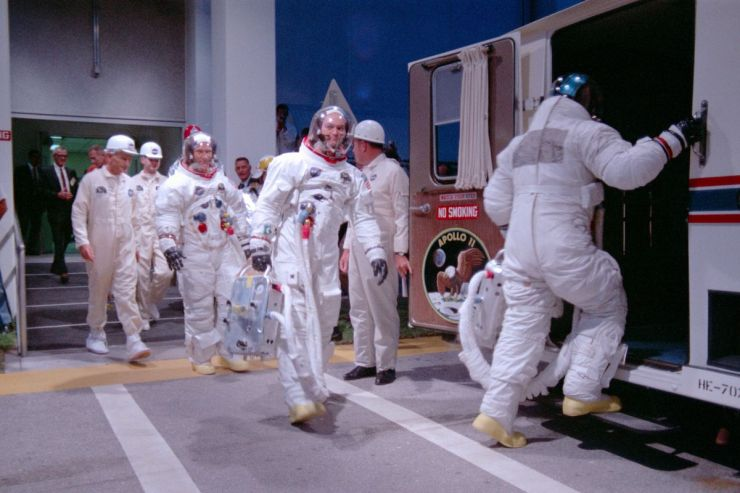 The astronauts board the vehicle that will take them to their spacecraft.