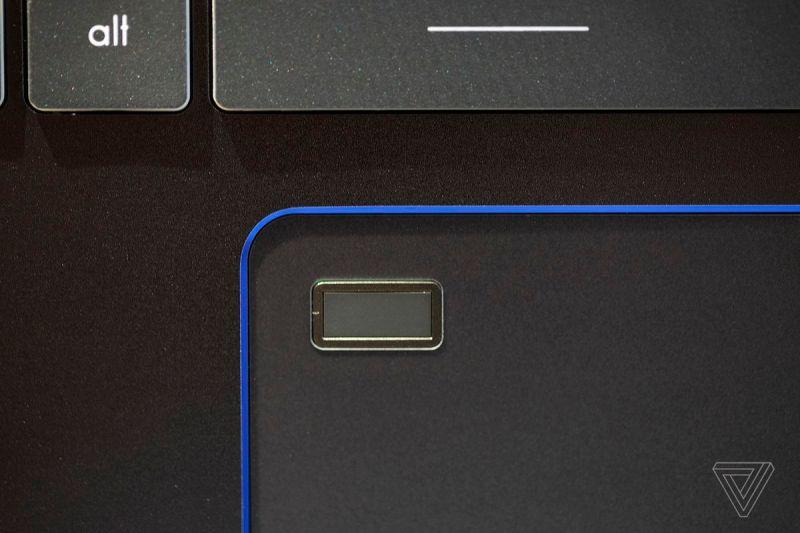 Il sensore di impronte digitali dell'MSI Prestige 14 Evo.