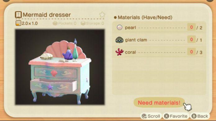 An Animal Crossing recipe for a Mermaid Dresser