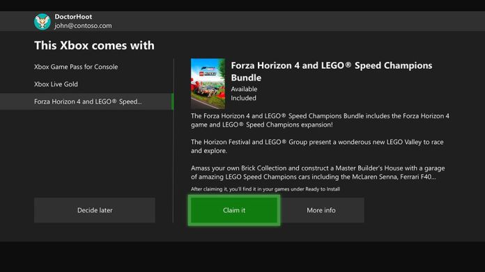 A screenshot from the setup process of a new Xbox console shows the option to claim a game or decide later.