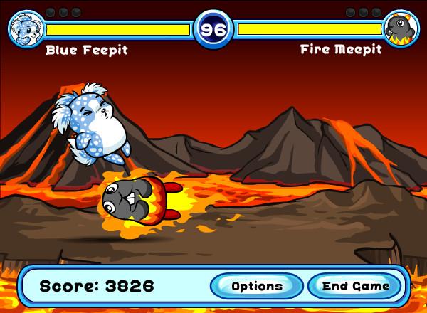 A Fire Meepit headbutts a Feepit