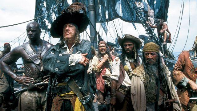 Barbossa (Geoffrey Rush) and his crew.