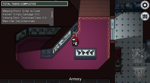 An animated crewmate bean standing in a room full of weapons, including all a katana, sais, nunchucks, and a bostaff.